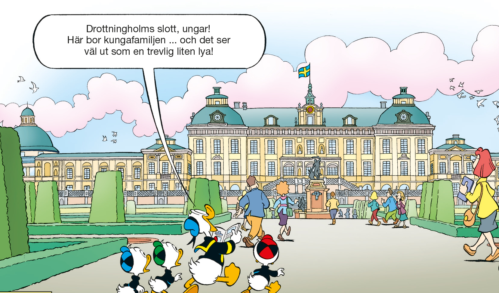 Kalle Anka intar Drottningholms slott