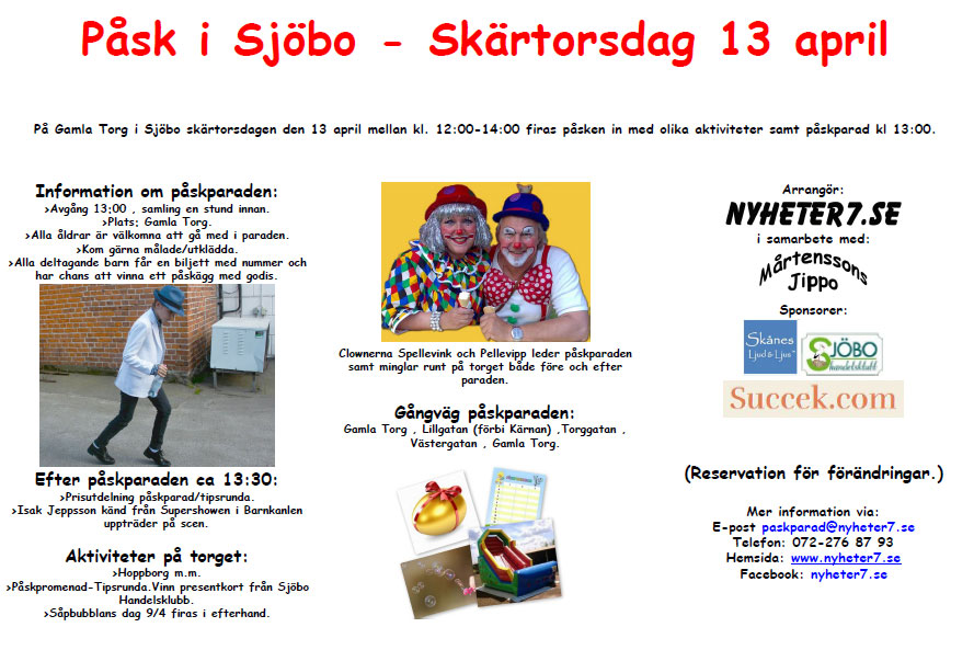 "nyheter7.se arrangerar ""Påsk i Sjöbo"" 13 april"