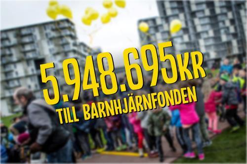 SKOLELEVER SPRANG IHOP 5,9 MILJONER KRONOR TILL BARNHJÄRNFONDEN